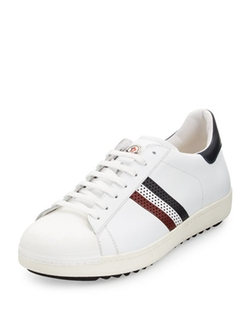 Moncler  - Perforated Tricolor-Stripe Low-Top Sneaker