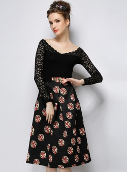 Romwe - High Waist Floral Print Skirt