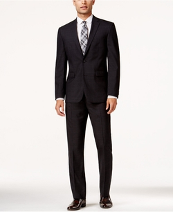 Vince Camuto  - Charcoal Windowpane Slim-Fit Suit