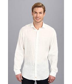 Thomas Dean & Co.  - White Linen Button Down Sport Shirt