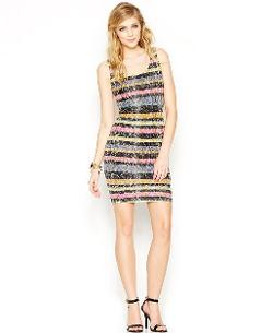 Bar III  - Striped Lace Dress