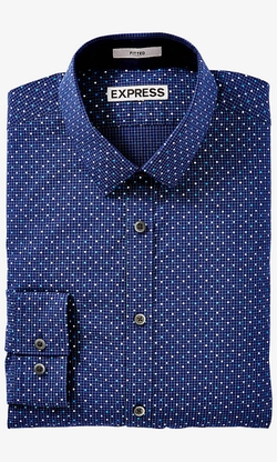 Express - Fitted Dotted Grid Print Shirt