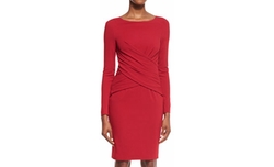 Talbot Runhof - Lounge Long-Sleeve Wrap-Front Sheath Dress