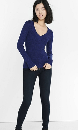 Express - Marl Fitted V-Neck Sweater