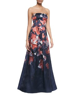 Kay Unger New York   - Strapless Floral-Print Gown