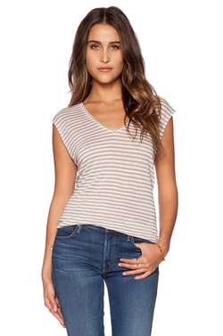 Bobi - Striped Linen V Neck Tank Top