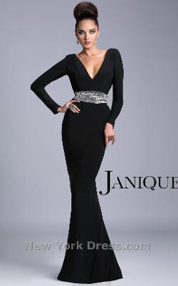 Janique - Sultry Plunging Belted Evening Dress