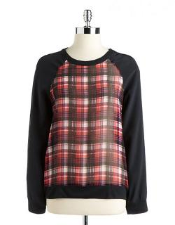 Patterson J. Kincaid  - Plaid Silk Front Top