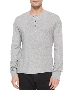 Ralph Lauren Black Label - Button-Down Ribbed Henley Shirt