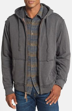 True Grit - Hooded Full Zip Jacket with Faux Shearling Lining