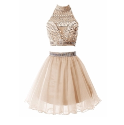 Tideclothes - Short Two Pieces Prom Dress Beading Tulle Evening Dress