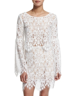 For Love & Lemons - Vika Long-Sleeve Lace Crop Top