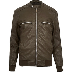 Riverisland - Green Leather-Look Bomber Jacket
