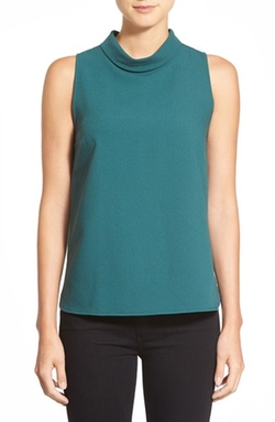Bobeau - Sleeveless Mock Cowl Neck Top