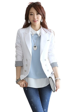 Easy Womens Clothes - Double-Breasted Slim Fit Suit Blazer