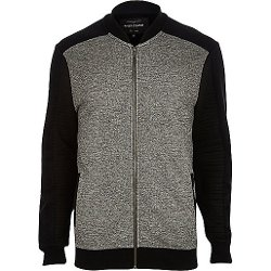 River Island - Black Textured Color Block Bomber Jacket