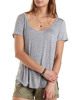 Charlotte Russe - Side Slit Scoop Neck Tee Shirt
