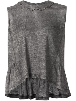 Sea   - Embellished Collar Ruffled Tank Top