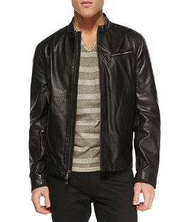 John Varvatos Star USA	 - Tumbled Leather Moto Jacket