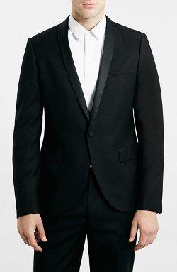 Topman - Black Ultra Skinny Fit Shawl Tuxedo Jacket