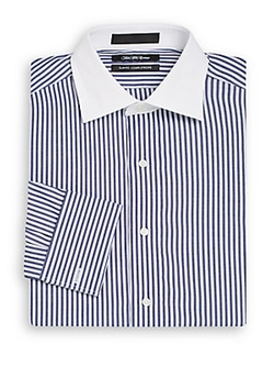 Saks Fifth Avenue - Contrast-Collar Striped Cotton Dress Shirt