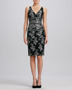 David Meister - Floral V-Neck Jacquard Cocktail Dress