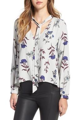 ASTR - Floral Print Tie Neck Blouse