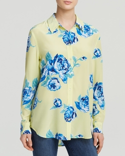Equipment - Reese Clean Boudoir Rose Print Silk Shirt