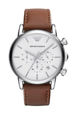 Emporio Armani  - Chronograph Leather Strap Watch