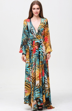 SheIn - Multicolor V Neck Long Sleeve Floral Maxi Dress