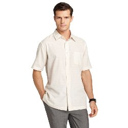 Van Heusen  - Checked Faux-Linen Easy-Care Casual Button-Down Shirt
