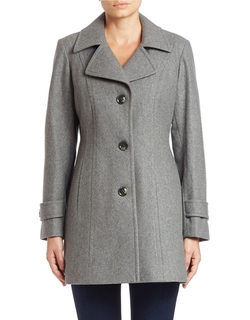 Anne Klein  - Single Breasted Walker Coat