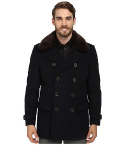 Vince Camuto  - Wool Melton Peacoat Sherpa Collar Leather Coat