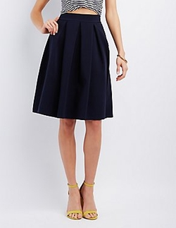 Charlotte Russe - Pleated Full Midi Skirt