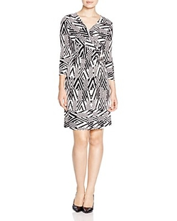 Calvin Klein - Printed Faux-Wrap Dress