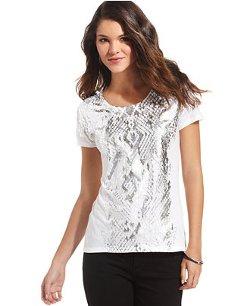 DKNY Jeans - Short-Sleeve Foil Snake-Print Tee