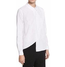 Kendall + Kylie  - Asymmetric Long-Sleeve Poplin Shirt