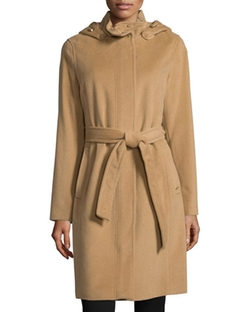 Ellen Tracy  - Belted Coat W/Removable Hood