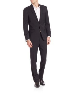 Saks Fifth Avenue Collection  - Solid Wool Suit