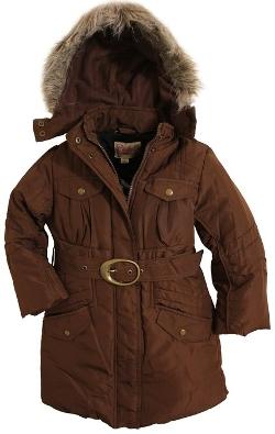 Chillipop -  Fleece Lined Faux Fur Trim Hooded Puffer Jacket