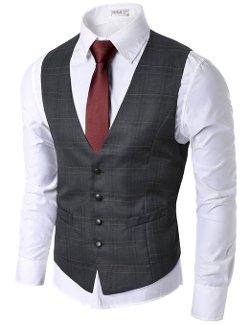 Doublju  - Mens Checks Waistcoat Vest Slim Fit