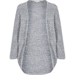 River Island - Girls Grey Boucle Knit Drape Cardigan