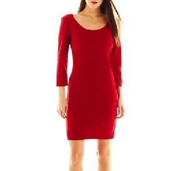 Bisou Bisou - 3/4-Sleeve Textured Cutout Dress