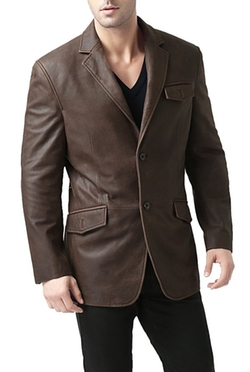 BGSD  - Two-Button Cowhide Leather Blazer