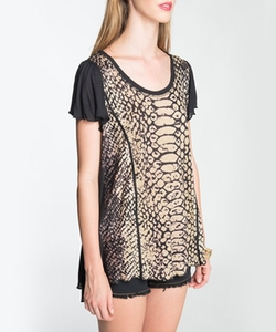 Seven 7 - Snake Front Print Top