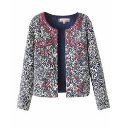 Persun - Women Vintage Print Long Sleeve Quilted Jacket