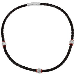 JC Penney - Braided Leather & Stainless Steel Necklace