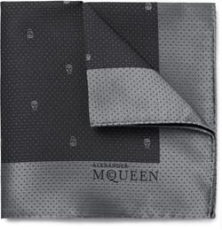 Alexander McQueen  - Skull-Patterned Silk-Jacquard Pocket Square