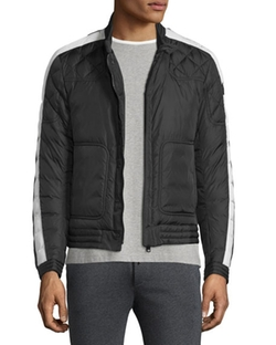 Moncler  - Goya Quilted-Sleeve Biker Jacket