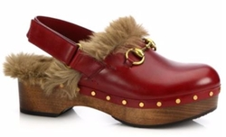 Gucci - Amstel Fur-Lined Leather Slingback Clogs